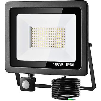 LED Floorlight 100W with PIR Sensor, 8000LM Super Bright Security Lights