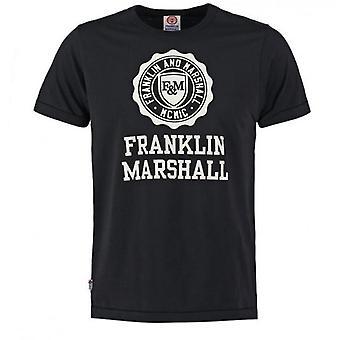 Franklin and Marshall Logo Top Short Sleeve Black Boys T-Shirt FMS0060 023