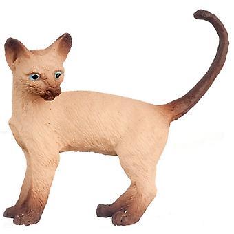 Nuket Talo Siamilainen kissa seisoo näyttää vasen häntä ylös 1:12 Miniatyyri lemmikki