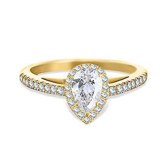 Ring Wedding Solitaire Diamond Pear-cut 1 carat on 18K Gold