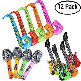 Yojoloin jumbo 12pcs inflatable guitar saxophone microphone balloons fun musical instruments accesso