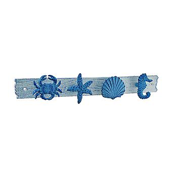 Blue and White 15.75 inch Sea Life Decorative Beach House Wall Hook