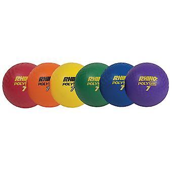 """Rhino Poly 7"""" Playground Ball Set, Surtido de Colores, Conjunto de 6"""
