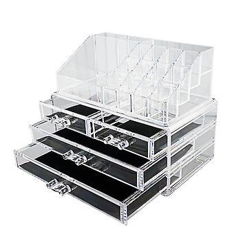 Organizador de maquiagem XL com 16 compartimentos e 4 gavetas