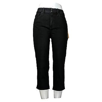 NYDJ Women's Jeans Skinny Crop with Side Slits Black A377694