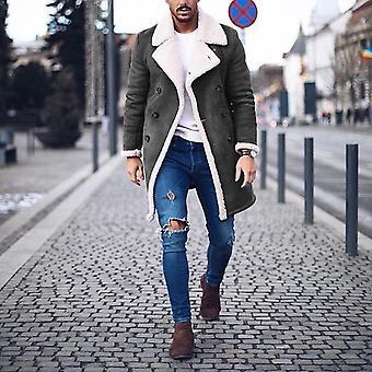 Men's Warm Coat, Miesten Talvivilla fleece pitkä päällystakki, Päällysvaatteet Miehet Pitkä