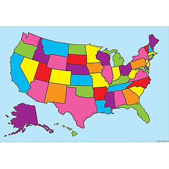 """Smart Poly Charts 13"""" X 19"""", U.S. Map, Pack Of 10 Poster"""