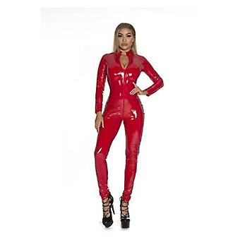 S-5xl Sexy Lingerie Red Black Female Faux Leather Catsuit Pvc Latex Bodysuit Front Zipper Open Crotch Stretch Jumpsuits