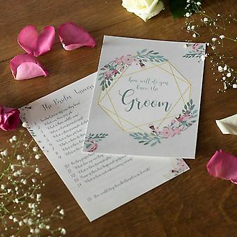 Geometric Floral Design Bride and Groom Hen Party Game Set of 2 Cards