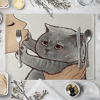Cute Cat Cartoon Animal Pattern Placemat