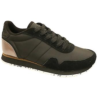 Woden Black Nora Lightweight Lace Up Leather Trainer