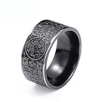 Ethnical Ring Thin Titanium Steel Finger Ring For Ceremony Black