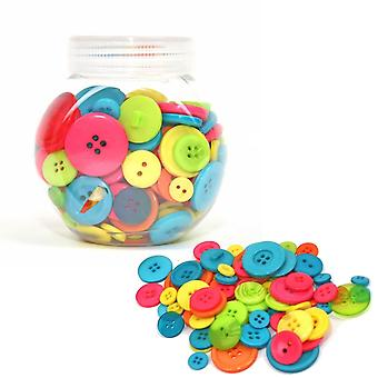 LAST FEW - 120g Mixed Size and Shade Button Tubs for Crafts - Brights