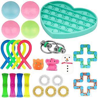 HanFei Anti-Stress Spielzeug-Set, 24 Stuck Blase Fidget sensorische Spielzeug-Set, Fidget Spielzeug für Kinder und