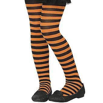 Collant rayé orange et noir enfant