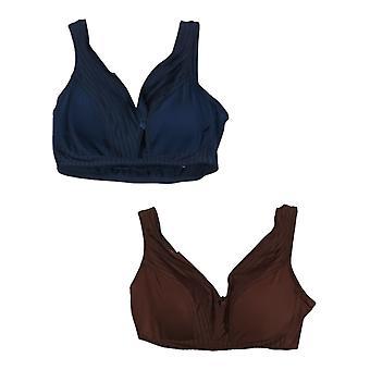 Rhonda Shear Women's Plus 2-pack Striped Mesh Pin-Up Bra Blue 743453