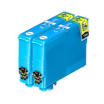 2 Cyan blækpatroner til at erstatte Epson 502XLC kompatibel / ikke-OEM fra Go Inks