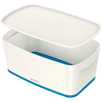 Gerui A5 MyBox Small with Lid, Storage Box for Home and Office, 5 L, High Gloss, Plastic, White/Blue