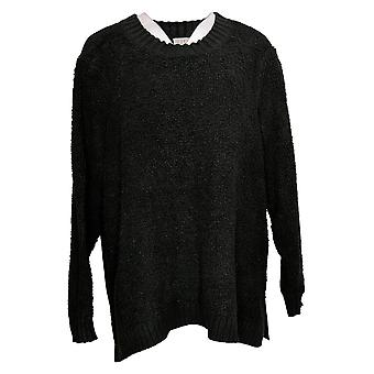 LOGO By Lori Goldstein Women's Mixed Media Sweater Black A385274