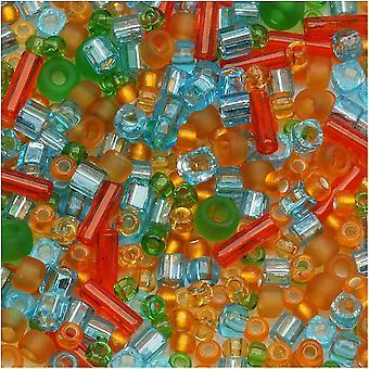 توهو الخرز الزجاج متنوعة 'هايكو' البرتقالي / الأخضر / الأزرق ميكس 8G
