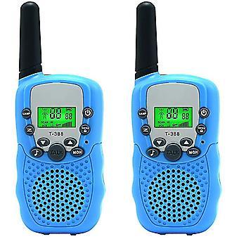 Blue 2-pcs kids walkie talkie two ways radio toy 3 miles range cai1561