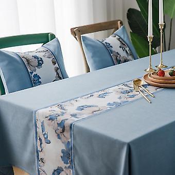 ماء مفرش المائدة الصلبة لون تقليد القطن والكتان شرابة الدانتيل هندسة مستطيل الجدول القماش