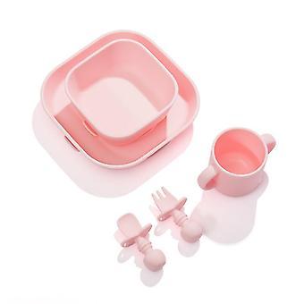 Ensemble de plaques de silicone carrées roses comprend la cuillère de tasse de bol dt7857