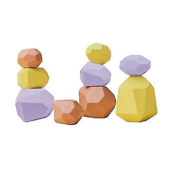Baby juguete de madera jenga bloque de construcción de piedra de colores creativo educativo estilo nórdico apilamiento