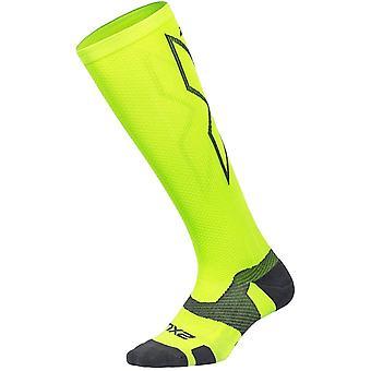 2XU Vectr Full Length Unisex Running Compression Socks, Wild Lime Grey