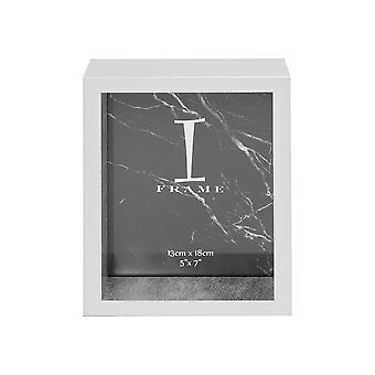 """מסגרת תמונה של 5"""" x 7"""" - מסגרת תמונה של iFrame כסף ותיבה לבנה"""