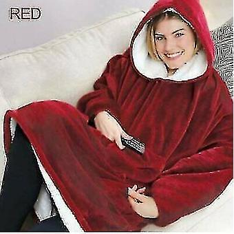 Hoodie Blanket Oversized Sherpa Giant Big Hooded Sweatshirt Warmth Red(Red)