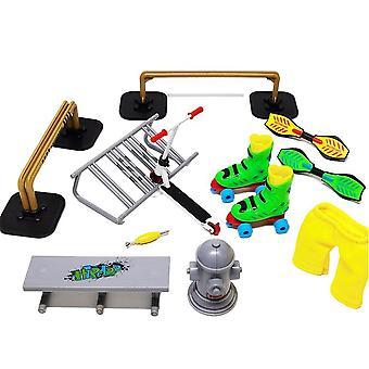 אופני אצבע קטנוע סקייטבורד אצבע להגדיר מקום צעצוע שילוב מיני סקייטבורד אצבע צעצוע(A)