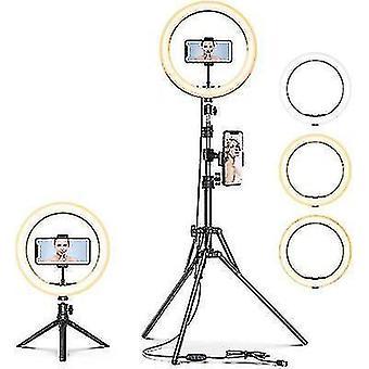 10''led Selfie Ring Light, dimmable Beauty Ringlight, avec trépied stand et support de téléphone portable