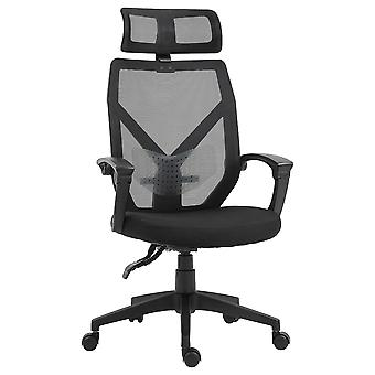 Vinsetto High Back Home Mesh Office Chair Swivel Reclining w/ Lumbar Support Height Adjustable Free Moving Suitable For Working Relaxing Black