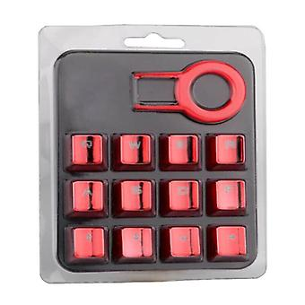 (Rosso) 12Pcs/Set Mechanical Keyboard Gaming Keycap Backlit Keycaps With Keycap Puller