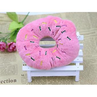 13cm Pet Dog Welpen Katze Donut Tugging Kauquietsche Quack Ton Spielzeug(Pink)