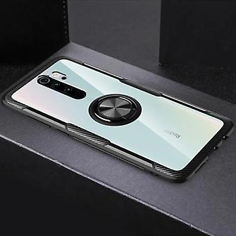 Keysion Xiaomi Redmi Note 8 Pro Case with Metal Ring Kickstand - Transparent Shockproof Case Cover PC Black