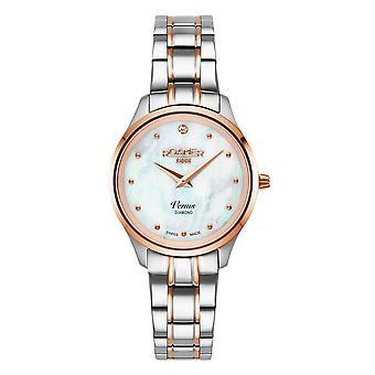 Roamer 601857 49 89 20 Women's Venus Diamond Two Tone Steel Bracelet Wristwatch
