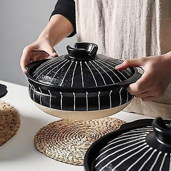 Casserole dishes ceramic casserole japanese round cooking pot pan household kitchen supplies black