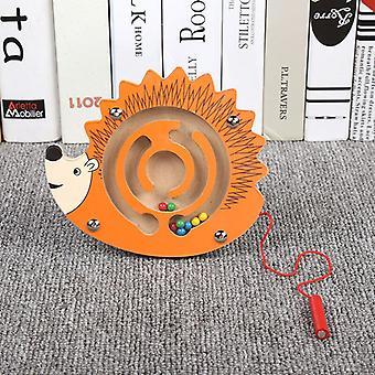 Brinquedos infantis Jogo de quebra-cabeça de labirinto de caneta magnética de madeira para estimular o cérebro-(ouriço)
