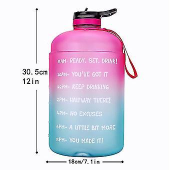 3.78l Nouveau sports Creative Gradient Color Fitness Bouteille d'eau avec paille