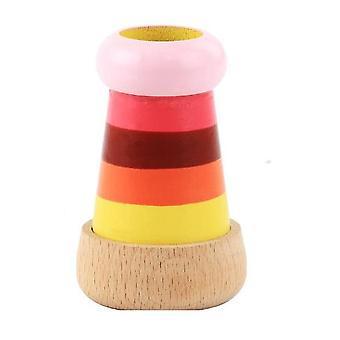 Juguete colorido de rayas multi prisma caleidoscopio, soportes educativos del telescopio de simulación de madera