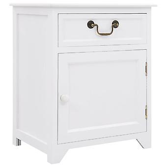 Chunhelife Nachttisch Weiß 40x30x50 Cm Paulownia Holz