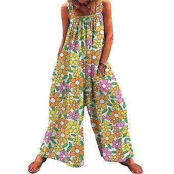 kvinners sommer floral print ermeløse løse bukser overalls