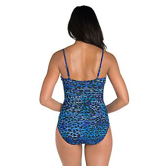 Miraclesuit 6500365 Women's Purr Fection Mystify Underwired Control Swimsuit Blue Animal Print