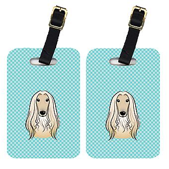 Pair of Checkerboard Blue Afghan Hound Luggage Tags