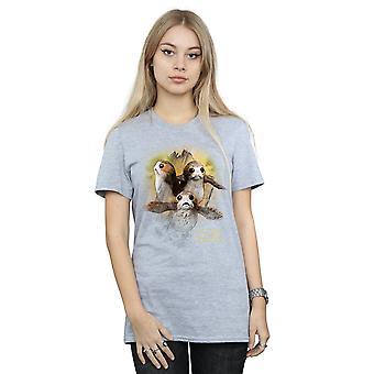 Star Wars naisten viimeinen Jedi Porgs harjattu poikaystävä Fit t-paita