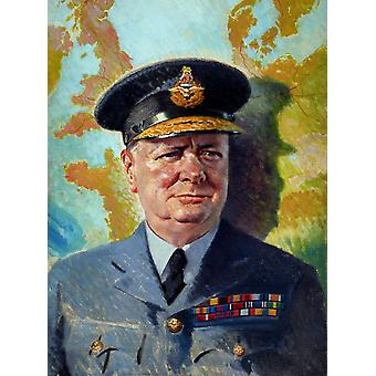 World War II painting of Winston Churchill wearing his RAF uniform Poster Print by John ParrotStocktrek Images