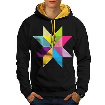 Ornament Star Men Black (Gold Hood)Contrast Hoodie | Wellcoda