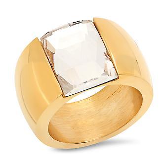السيدات 18 ك الذهب مطلي بخاتم الفرقة كريستال الفولاذ المقاوم للصدأ